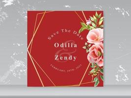 wedding invitation red floral themes vector