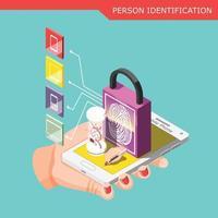 Biometric ID Isometric Composition Vector Illustration