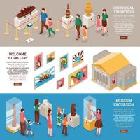 Museum Isometric Banners Set Vector Illustration
