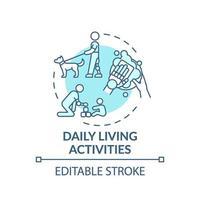 icono de concepto de actividades de la vida diaria vector