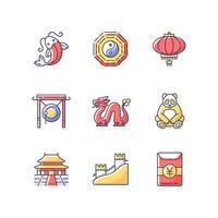 Oriental culture RGB color icons set vector