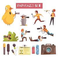 Paparazzi Photographer Cartoon Icons Set Vector Illustration