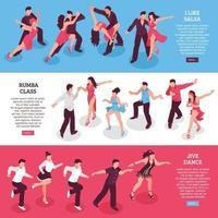 Danza horizontal isométrica banners vector illustration