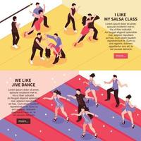Dance Isometric People Banners Vector Illustration
