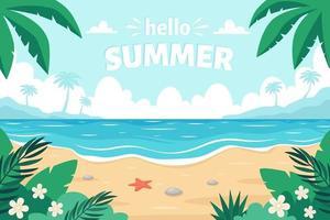 Sea sand beach. Hello summer. Seashore with sea star, palms, sea pebbles and tropical plants. Vector illustration