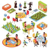 juegos de mesa personas conjunto isométrico ilustración vectorial vector
