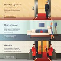 Hotel Staff Horizontal Banners Vector Illustration