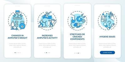las prótesis reemplazan las condiciones que incorporan la pantalla de la página de la aplicación móvil con conceptos vector