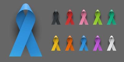 Realistic Colorful Awareness Ribbons vector