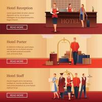 Hotel Personnel Flat Banners Vector Illustration