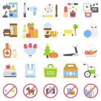 supermercado y centro comercial relacionados con el conjunto de iconos 5, estilo plano vector