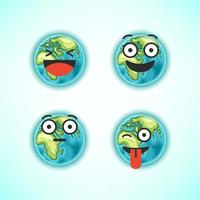 Earth character emoticons vector set