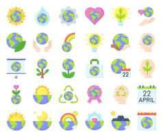 Earth Day related vector icon set, flat style