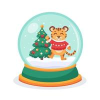 Christmas snow globe with a Tiger and fir-tree inside. Snow globe sphere. Vector illustration.