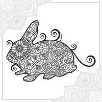 mandala de conejo. elementos decorativos vintage. patrón oriental, ilustración vectorial. vector