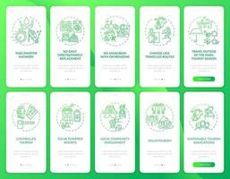 Pantalla de la página de la aplicación móvil de incorporación de turismo verde con conceptos vector