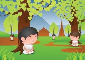 Big bubble head man and woman cartoon in meditation under a tree vector