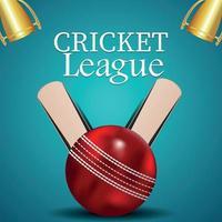 Cricket league on creative equipment on background vector