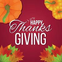 feliz celebración de acción de gracias tarjeta de felicitación con calabaza de vector y hoja de otoño