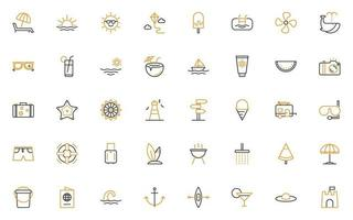 set of summer thin line icons vector