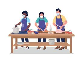 Man and women at cooking class flat color vector faceless character