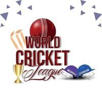 World cricket league with cricket equipment on white background vector