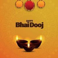 Feliz bhai dooj ilustración vectorial y fondo con lámpara de aceite diwali diya creativa vector
