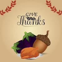 Ilustración de vector de tarjeta de invitación de acción de gracias
