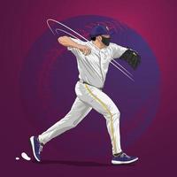Lanzador de béisbol en temporada pandémica vector