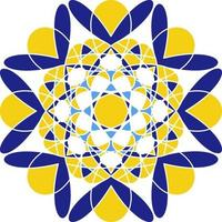 Mandala in Azulejo style, Portuguese circular ornament. vector