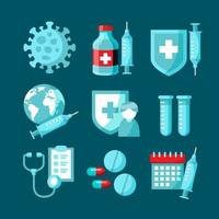 Vaccine Icon Collection in Flat Design vector
