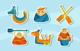 Dragon Boar Sticker Collection vector