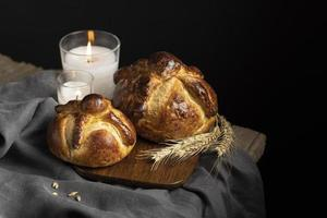 Arrangement of traditional bread of dead photo