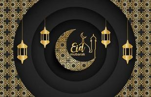 Eid mubarak ,Ramadan mubarak background. Design with moon,  gold lantern on black background. Vector. vector