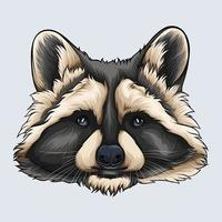 Hand drawn grey and beige Raccoon face illustrated with shadows and lights isolated on white background vector