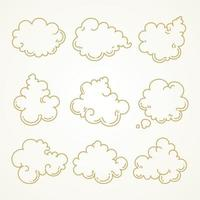 Cloud set Sketch hand drawn vector