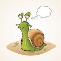Cute cartoon Snail thinking on the ground vector