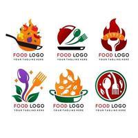 colección de logotipos de alimentos en diseño degradado vector