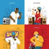 Rap Music Performers Concept Design Vector Illustration