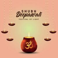 Shubh deepawali indian festival with glowing pot and oil lamp vector