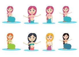 Mermaid vector design illustration isolated on white background