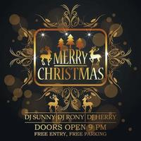 Merry christmas celebration greeting card with golden text effect vector