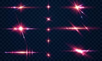 Establecer chispas brillo efecto de luz especial que brilla intensamente vector