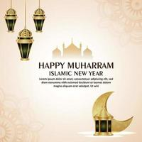 Happy muharram islamic new year with arabic pattern moon and lantern on white background vector