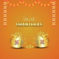 Tarjeta de felicitación de celebración de invitación shubh dhanteras con olla de monedas de oro sobre fondo naranja vector