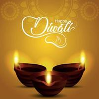 Vector illustration of happy diwali celebration background with glowing diwali diya