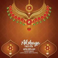 Akshaya tritiya invitation greeting card with creative golden necklace vector