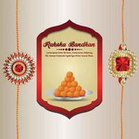 Raksha bandhan invitation vector illustration with crystal rakhi on creative background