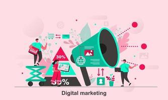 Digital marketing web concept design in flat style vector illustration