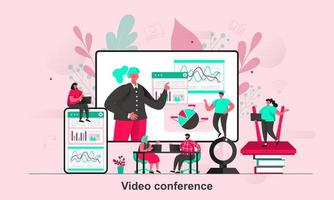 Video conference web concept design in flat style vector illustration
